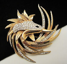 "Rare Vtg 2-3/4"" Signed & Numbered Boucher Gold Tone Rhinestone Bird Brooch A50"