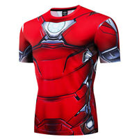 Superhero Men Gym Ironman T Shirt Compression Top Avengers Marvel Cosplay Shirt