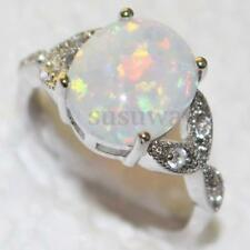 Sterling Silver Australian Fire Opal Ring Wedding Engagement Propose Size 7-10