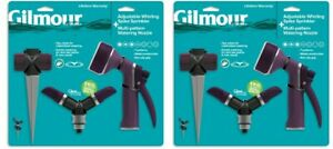 Lot of 2 Gilmour Adj Whirling Sprinkler w Spike Rear Control Watering Nozzle Set