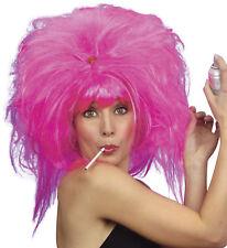 Ladies Años 80 Peluca Rosa Mujer Disfraz 1980s Fiesta Grande Pelo Nuevo