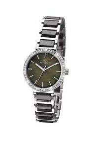 NEW LADIES ACCURIST WATCH TWO TONE GREEN MOTHER OF PEARL DIAL CERAMIC BRACELET