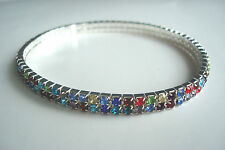 2 Row Stretchy Multi-Colour Diamante Ankle Bracelet Anklet *Please Check Size