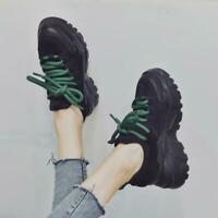 Fashion Women's Round Toe Lace Up Creeper Hidden Wedge Platform Girls Shoes Csho