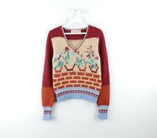 Vtg 70s Womens Medium Multicolor Floral Print Knit Long Sleeve V-Neck Sweater