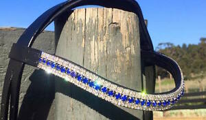 Great Quality Italian Leather 5 Rows Sapphire & Clear mega bling curve browbands