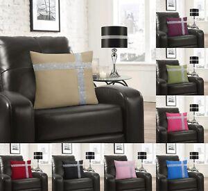 "Luxury Diamante Cross Cushion Cover Sparkle Bling Glam 17"" x 17"" Black Blue Pink"