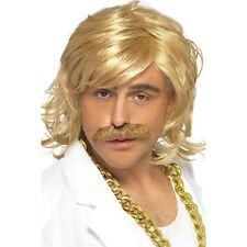 Keith Blonde Game Show Host Wig Tash Moustache Mens Adults Fancy Dress Accessory