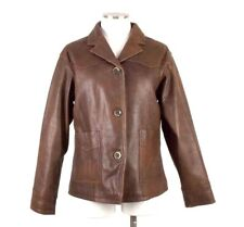 Cabelas Brown Leather Jacket Button Front Floral Embossed Super Soft Womens M