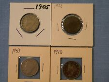 US Liberty V Nickel Coin Set of 4 Different Dates 1905 1906 1907 1910 (LN4-2)