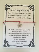 WISH BRACELET IN LOVING MEMORY MEMORIAL SYMPATHY GIFT CARD VARIOUS COLOURS CHARM
