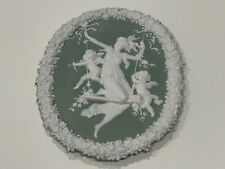 Antique Likely German Green Jasperware Plaque w/ Woman & Cherubs Decoration