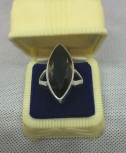 Silver 925  Oval Faceted Smokey Quartz Vintage Ring Size 8 1/2