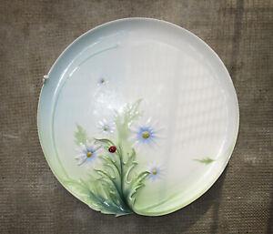 Ancien grand plat porcelaine Franz barbotine marguerites Coccinelle Art Nouveau.