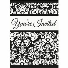 Black Damask Invitations 8 ct Wedding Bridal Shower Anniversary Party