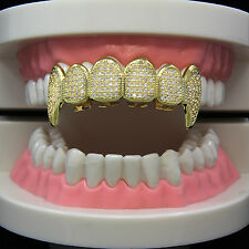 Custom 14k Gold Plated Hip Hop Iced Out CZ Teeth Free Grillz Caps Mouth Fang Top