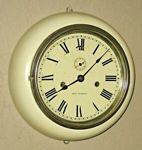 ANTIQUE SETH THOMAS ARCTIC WHITE ADAMANTINE LEVER WALL CLOCK WORKING DUAL SPRING