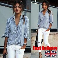 Fast Shipping Women Long Sleeve Shirt Striped Loose Business Casual Lapel Blouse