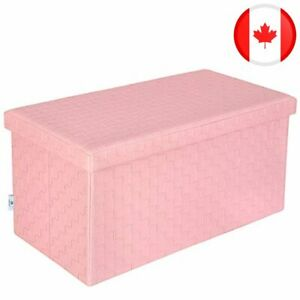 B FSOBEIIALEO Faux Leather Folding Storage Ottoman Long Bench Pink 76.5 * 38 * 3