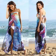 Women Chiffon Cover Up Beach Wear Bikini Swimsuit Open Back Wrap Dress Sarong US