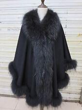 Real cashmere Raccoon fur Cloak  Cape/Coat Elegance Oversize Fit all Black