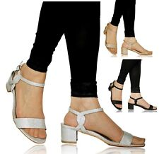 Ladies Women Party Sparkly Glitter Low Block Heel Summer Shoes Sandals Size-6646