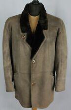 Shearling Suede Leather Vintage Sheepskin Jacket Coat Brown 42R Large L090