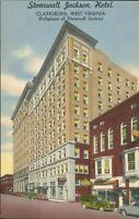 Stonewall Jackson Hotel - Clarksburg, West Virginia - unused linen postcard WV