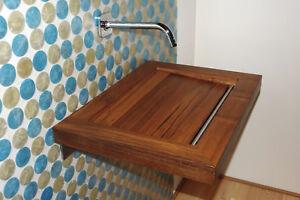 Holzbecken aus massivem Teakholz - Holzwaschbecken Waschecken Edelstahl