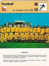 FOOTBALL carte  fiche photo  équipe LA SUEDE 1978