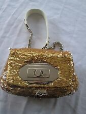 OrYANY Gold Sequin Clutch Evening Bag Churchills Gold ONE NEW