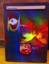 FOIL MTG MOUNTAIN ALTERED ART LORD OF THE RINGS SAURON EYE MORDOR BARAD DU EDH