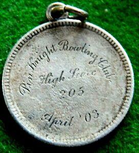 1902 SILVER BARBER QUARTER INSCRIBED PIN KNIGHT BOWLING CLUB HIGH SCORE 205 4/03