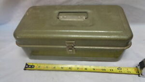 """Vintage Metal Cash Box with Coin Tray - 13"""" x 7"""" x 5""""  (S0709-34)"""