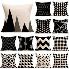 """18"""" Geometric Black & White Pillow Case Linen Throw Sofa Couch Cushion Cover New"""