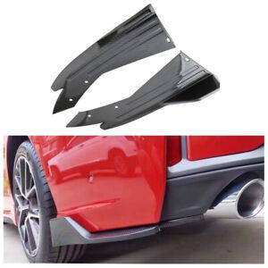 1 Pair 13.8in Glossy Carbon Look Car Bumper Modified Spoiler Rear Lip Winglet