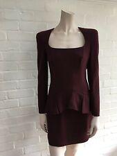 $3650 Alexander Mcqueen Trompe Loeil Peplum Wool Crepe Dress 40 US 4 UK 8