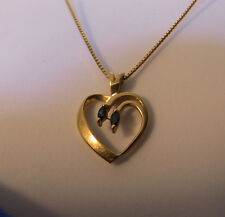 Heart Shaped 14k Solid Yellow Gold & 2-Sapphire Stone Estate Pendant