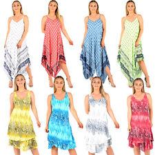 LADIES LANENLOOK DRESSES WOMENS BEACH SUN DRESS TUNIC SUMMER KAFTANS DRESS TOP