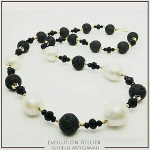 Collana donna in argento 925 Perle naturali Barocche e pietra lavica dell'Etna