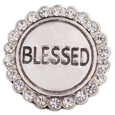 Blessed 20MM Silver Plated Rhinestones Enamel Round Snap Button Charm NEW