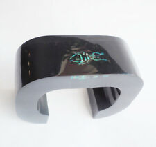 Stunning huge black lucite cuff bracelet with real glowing  beetle embedded