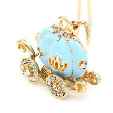 Betsey Johnson Blue Enamel Crystal Pumpkin Carriage Pendant Long Chain Necklace