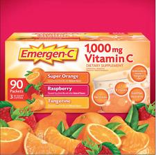 Emergen-C 90 Packets 1000 mg Vitamin C  Mix Flavor Orange, Raspberry, Tangerine