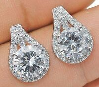 2CT White Sapphire 925 Solid Genuine Sterling Silver Earrings Jewelry, Y1