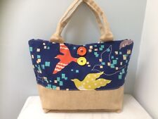 Individually Designed Newly Handmade Cotton Bird Design/ Linen Fabric Tote Bag