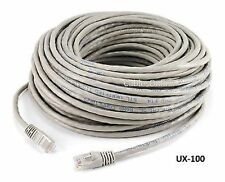 100ft CAT5e Cross-Over LAN Ethernet RJ45 UTP Network Patch Cable, Grey - UX-100