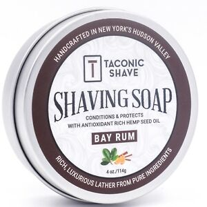 Taconic Shave Bay Rum Natural Handcrafted Shave Soap Made in USA Large 4 oz Puck