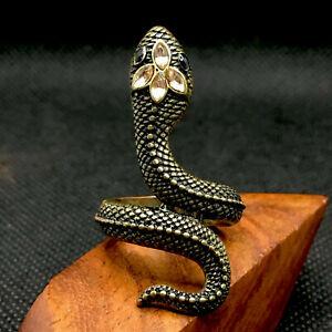 Snake Ring Gold Tone Rhinestones Serpent Asp Coil Gothic Punk Reptile Black Eyes