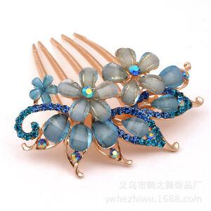 NEW Fashion Flower Crystal Rhinestone bride Hair Comb Clip-Blue